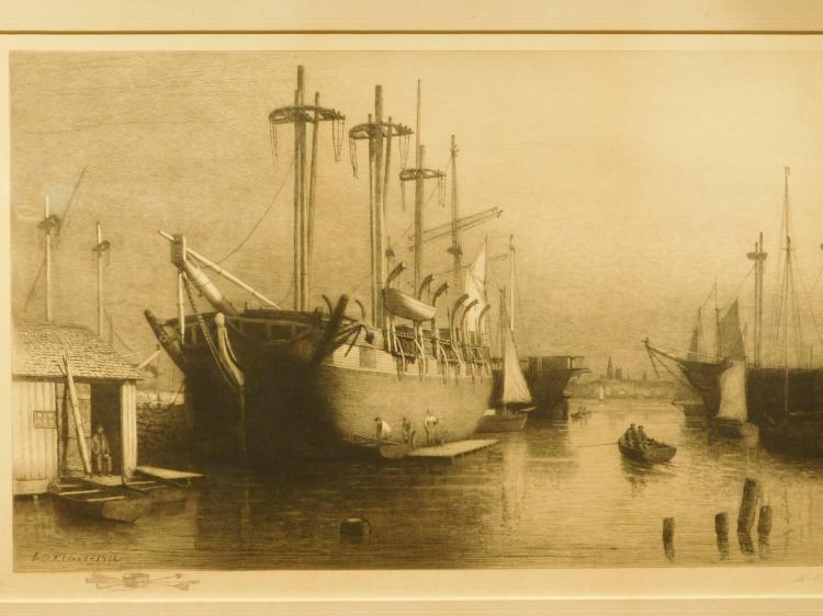 Lemuel D. Eldred: The Desdemona, 1906 Marine Engraving