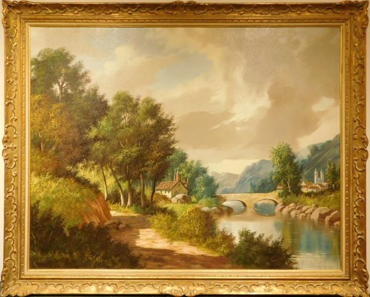 Morini: River Landscape with Bridge, Oil c.1970