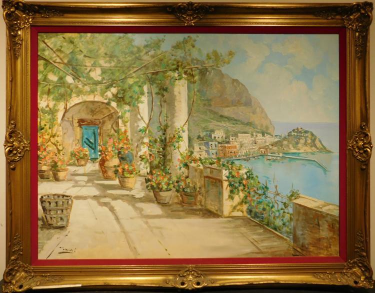 Mid-Century Modern Riviera Oil Painting