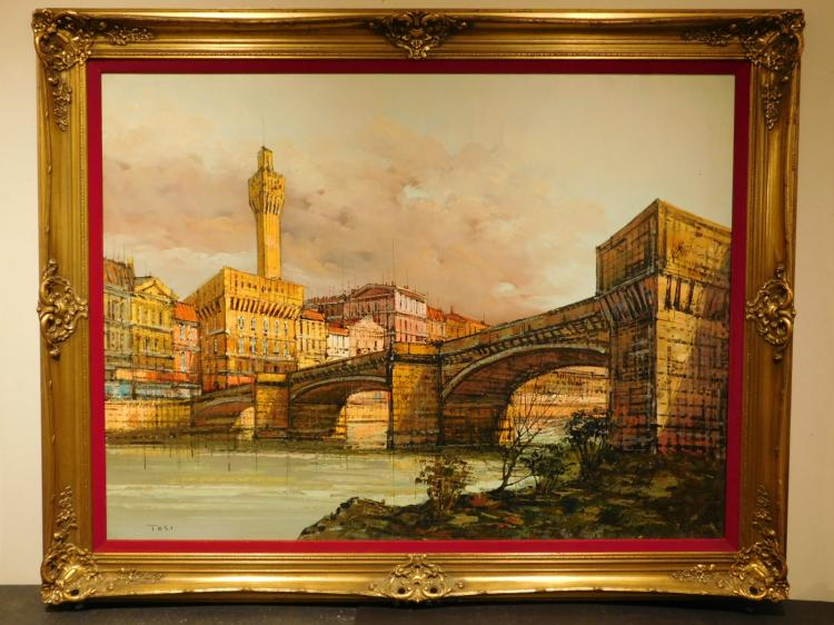 Tosi: Bridge Over Arno River w/ Ufizzi Tower