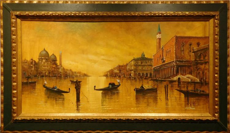 Antonio DeVity: Venetian Sunset oil painting c.1965
