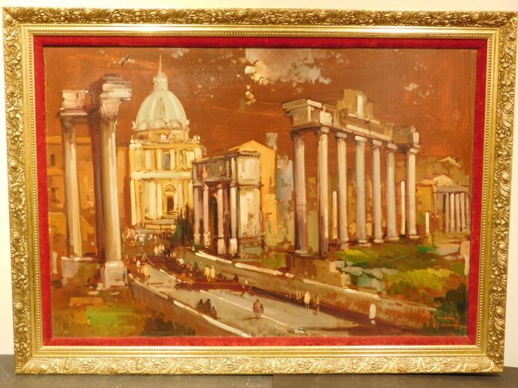 Giovanni Guidotti: Roman Ruins, Mid-Century Oil Painting