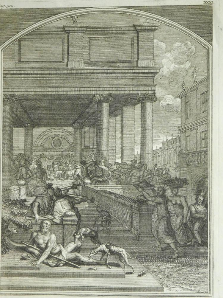 Pierre Fourdrinier: Rich Man and Lazarus, 18th Century engraving