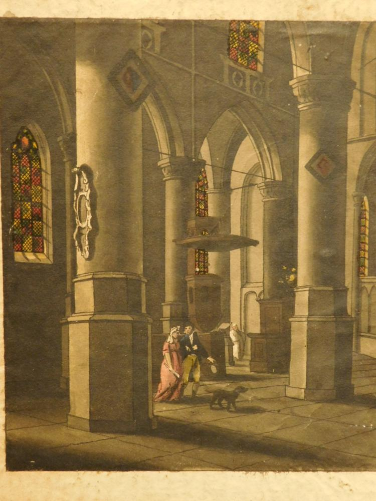 Interior of a Cathedral, 18th century watercolor