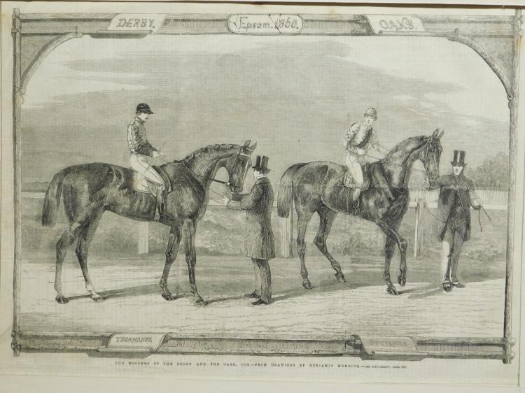 Horses: Winners of The Derby and The Oaks, 1860 engraving