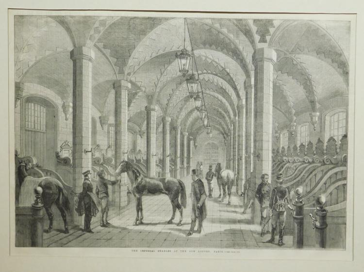 Horses: Imperial Stables at the New Louvre Paris, 1860 Engraving