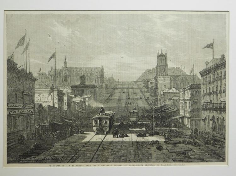 W. Palmer: A Street in San Francisco, 1866 Engraving