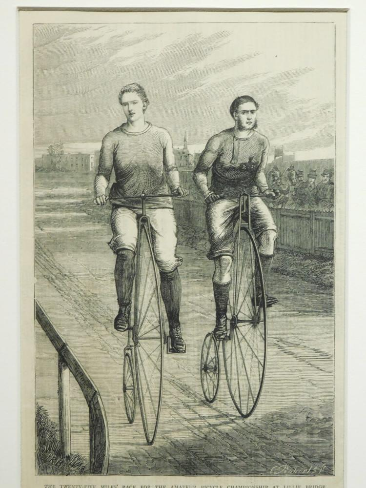 Cyclists Illustration (Engraving) from London News 1875