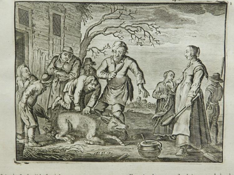 Adriaen Pietersz van de Venne: Peasants With A Pig, Engraving