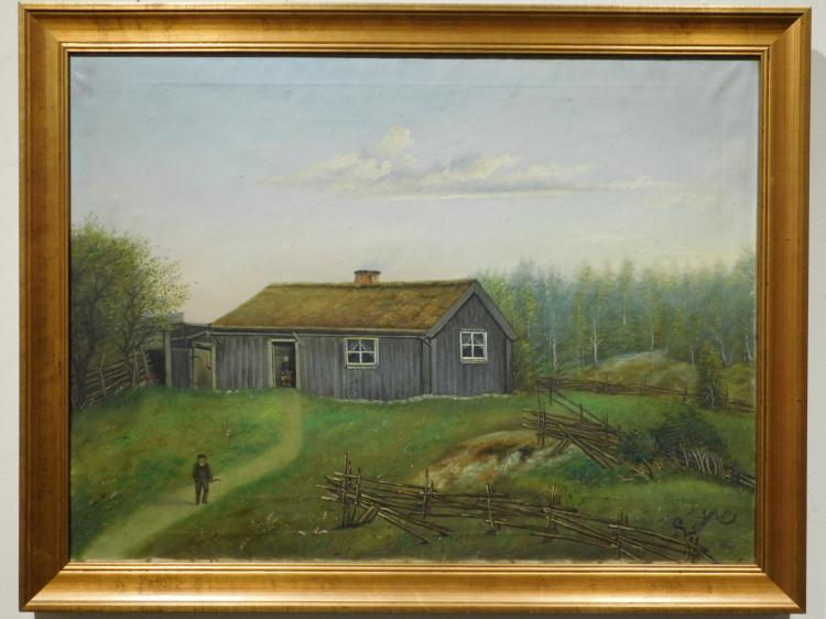 Lundbom: American Farm, 1893 Oil Painting