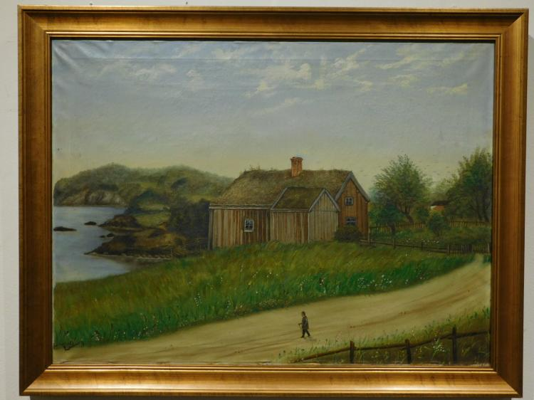Lundbom: Coastal Farm, c. 1893 Oil Painting