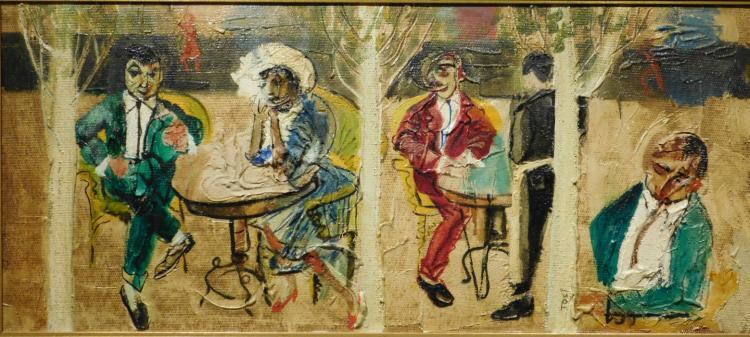 Arturo Tosi: Café Scene, Oil Painting c.1950
