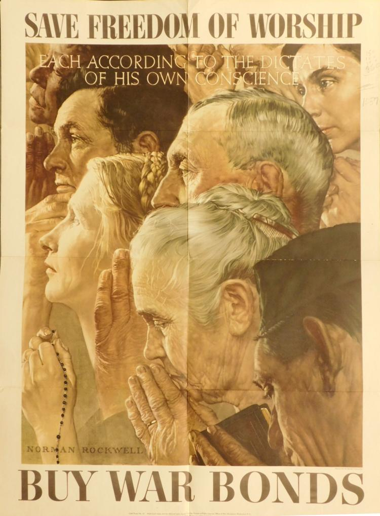 Norman Rockwell War Bonds Poster: Save Freedom of Worship