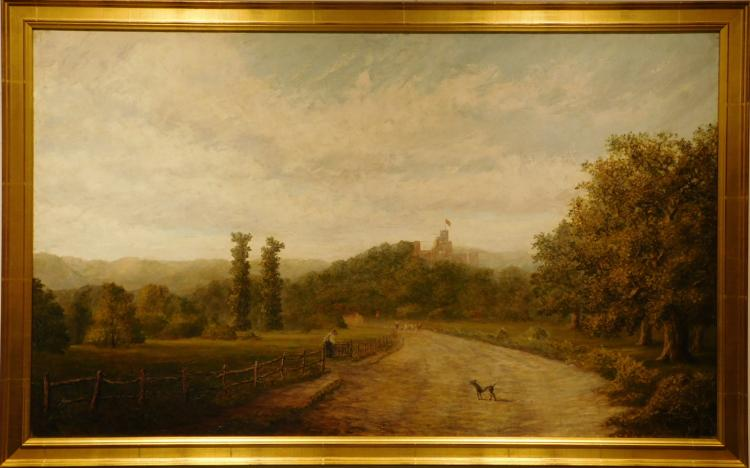 G. Busby Frazier 1905 British Country Lane Oil Painting