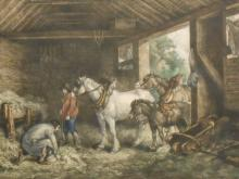 Antique French Etching With Horses In Stable