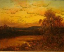 DeLacy Griffin: Sunset On The Lower Delaware, Oil