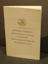 Leonard Baskin's Speech of Acceptance, 1965