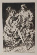 Morton R. Schwartz: Gypsies, 1948 Etching