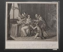 Gugliemo Martin: Giovanna Gray and Dukes 19th Century Etching