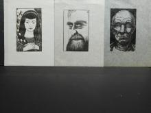 Howard Besnia:  3 Wood engraving, signed plate