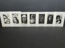 Howard Besnia: 7 Wood engraving, signed plate