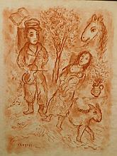 Marc Chagall: Violinist and Family, sanguine drawing
