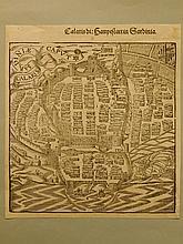 Sebastian Munster:  Calaris, Sardinia, woodcut, 1574