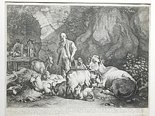 After Francesco Londonio, Italy: Engraving with Farm Animals