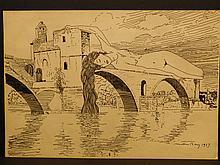 Man Ray: Female Nude on a Bridge, 1917 drawing