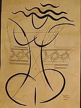 Man Ray: Female Figure, 1951 drawing