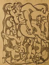 Fernand Leger: Group of Women, 1951 drawing