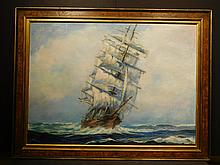 A. Doherty: Clipper Ship, 1956 oil painting