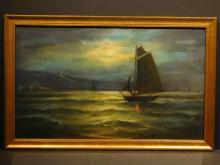 Sailing Boats at Night, c.1920 Pastel