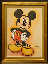 Mickey Mouse pastel drawing, signed MN