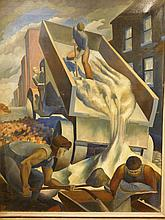 Howard Besnia: Men Working, c.1945 oil painting