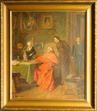 G. Alexo: Antiques Dealer Selling To A Cardinal, oil