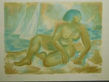 Laurent Marcel Salinas: Sur La Plage, (Female Nude) Lithograph