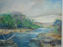 F.L. Nicolet: Fisherman In Stream, Watercolor