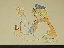 Norman Rockwell: Drawing of Man With Pipe, Signed
