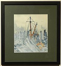 Giordan: Fishing Boat Watercolor