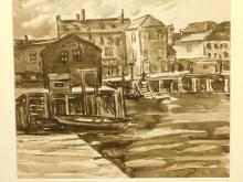 Ethel Swantee: Harbor Scene, ink drawing
