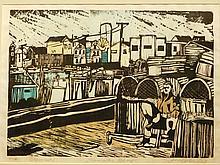 John Walker: Gloucester Wharf, 1968 Woodcut