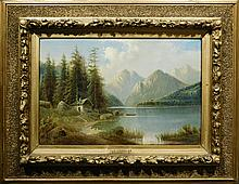 C. Rieder: Landscape w/ Lake and Mountain, Oil