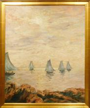 A.D.Browne: Sail Boats, 1933 oil painiting