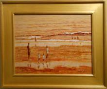 Bruce Wood: Contemporary Tonalist Marine/ Beach Oil Painting