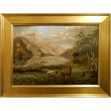 Dramatic New Hampshire Franconia Notch Landscape Oil Painting c. 1870