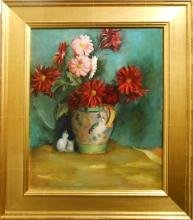 Harold Rotenberg: Floral Still Life With Cat, Oil Painting