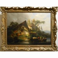 Antique Continental Boaters & Smokers c.1840 Oil Painting