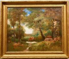 J. Clyde: Antique American Tonalist Landscape With Cow