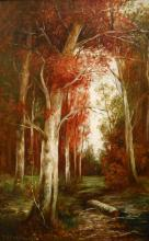 P. Whitford: Antique Oil Painting Fall Landscape